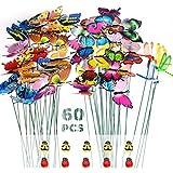 60 STK Garten Schmetterlinge Deko Set,PVC Wasserdicht,46x Gartendeko Schmetterling+4X Garten Libellen+10x Marienkäfer Biene Garten Ornamente,Outdoor Schmetterlinge Deko für Balkon,Hof,Terrasse,Party