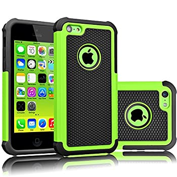 Tekcoo iPhone 5C Case [Tmajor Series] [Green/Black] Shock Absorbing Hybrid Impact Defender Rugged Slim Case Cover Shell for Apple iPhone 5C Hard Plastic Outer + Rubber Silicone Inner