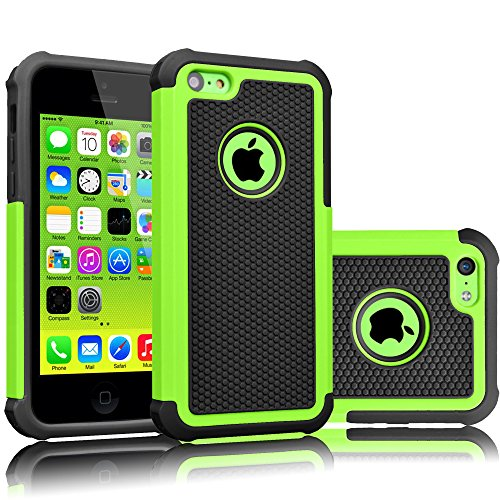 Tekcoo iPhone 5C Case, [Tmajor Series] [Green/Black] Shock Absorbing Hybrid...