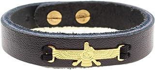 Asoodehdelan Genuine Leather Gold Farvahar Faravahar Bracelet Persian Zoroastrian Gift Persia Art