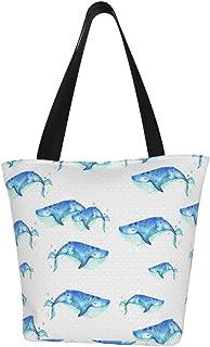 Lesif Einkaufstaschen, blaue Wale aus Segeltuch, wiederverwendbar, faltbar, Reisetasche, groß und langlebig, robuste Einkaufstaschen