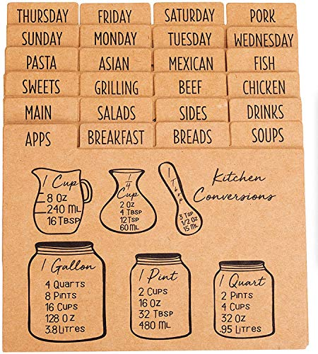 Outshine Premium Kraft Recipe Card Dividers 4x6 with Tabs (Set of 24) | Recipe Box Dividers Made of Thick Cardstock | Includes 28 Adhesive Labels and Printed Cooking Tips | Best Kitchen Gift
