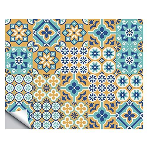 Lianlili 20pcs Autoadhesivo Blanco Mosaico Azulejos Pegatinas para la decoración de la Cocina del baño, la Pared Impermeable de la Pared Etiqueta Etiqueta (Color : I)