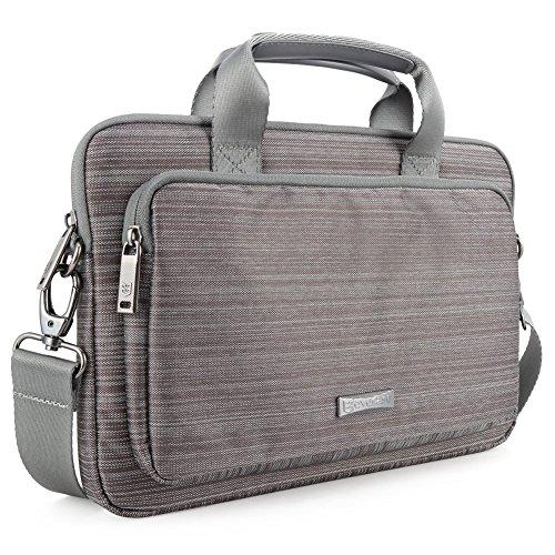 Evecase 17-17.3 Pollici Borsa per Laptop a Tracolla, Custodia in Tessuto Nylon con Maniglia per iPad Pro Laptop Notebook Chromebook, Grigio Tessuto