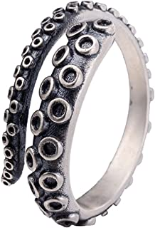 AZYOUNG 316L Stainless Steel New Pirate Octopus Tentacles Black O-Shaped One Size Opening Ring