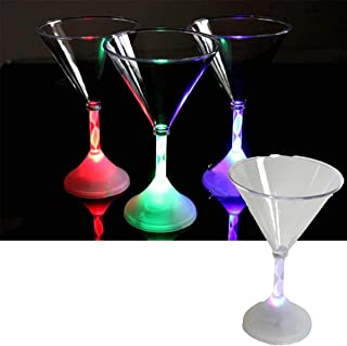 Light up LED Flashing Martini Glasses Pack of 3 - Clear Acrylic 175ml (6oz) 7 Flashing Glow Colours – Party Tableware Barw...