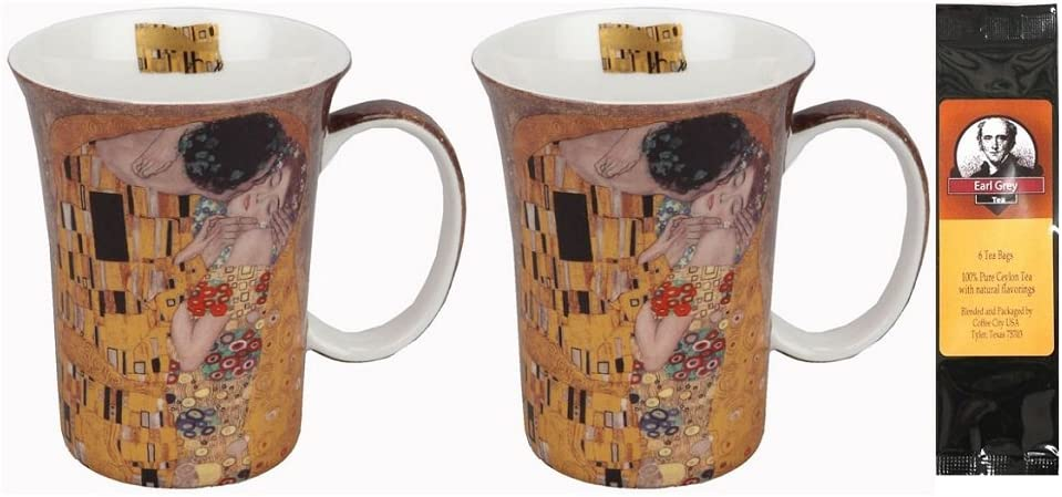 2 Coffee or Tea New products world's highest quality popular Mugs Klimt the Box Albuquerque Mall Bundle Matching a wi Kiss in