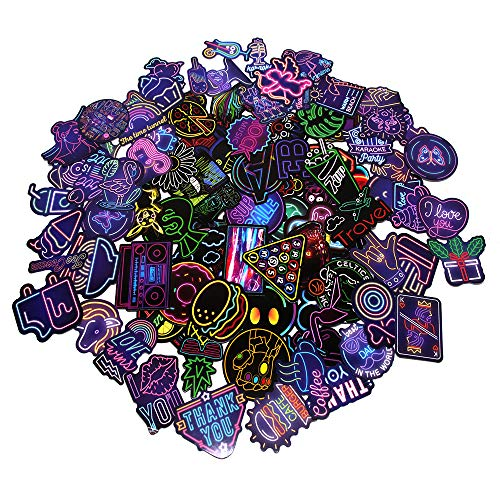 Skystuff 100Pcs Neon Stickers, Waterproof Graffiti Stickers for Skateboard Laptop Bike Scrapbook Phone Luggage Guitar Bottles Suitcase
