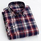 Camisas Hombres,Camisa A Cuadros De Algodón Camisas Casuales Rayas Clásicas Azul Rojo A Cuadros Camisas Regulares para Hombre con Bolsillo Botones Tops Padre Novio, XS