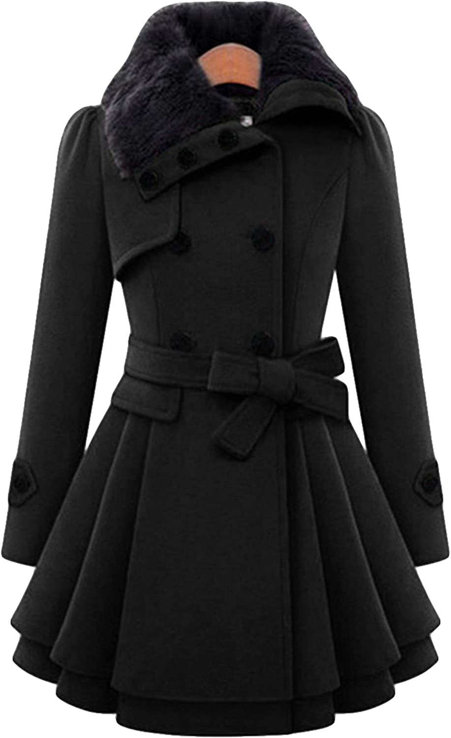 ZICUE Womens Double Breasted Pea Coat Winter Mid-Long Hooded Slim Fitted Jackets with Belted