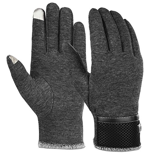 Vbiger Winter Gloves Texting Mittens Warm Cold Weather Gloves For Men (New Grey)