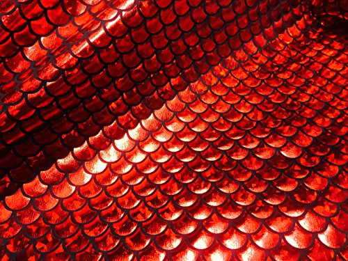 Tissu jersey avec écailles de sirène en aluminium – Spandex Lycra – Matériau extensible – 150 cm de large – Rouge (vendu au mètre)