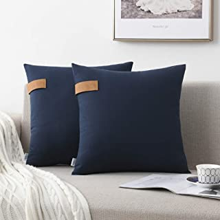 NordECO HOME Set of 2 Throw Pillow Covers - 100% Cotton Soft Decorative Cushion Covers for Bed Home Decoration, 18 x 18, Navy