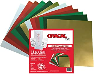 Oracal 651 Christmas Pack - Adhesive Craft Vinyl for Cricut, Silhouette, Cameo, Craft Cutters, Printers, and Decals - 12