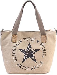 Umetoo トートバッグ キャンバス 2way ショルダーバッグ 男女兼用 星 英字 帆布 レトロハンドバッグ