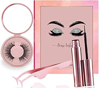 Magnetic Eyeliner and Lashes Kit with Applicator, Advanced Natural 3D Magnetic Lashes, Eyeliner, Compact Mirror, Magnetic Eyelashes with Eyeliner Set. Water Proof, Premium Quality Magnets.