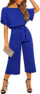 QUEENIE VISCONTI Women Summer Wide Leg Jumpsuit - Casual Long Pants Rompers Vacation Dressy Playsuit