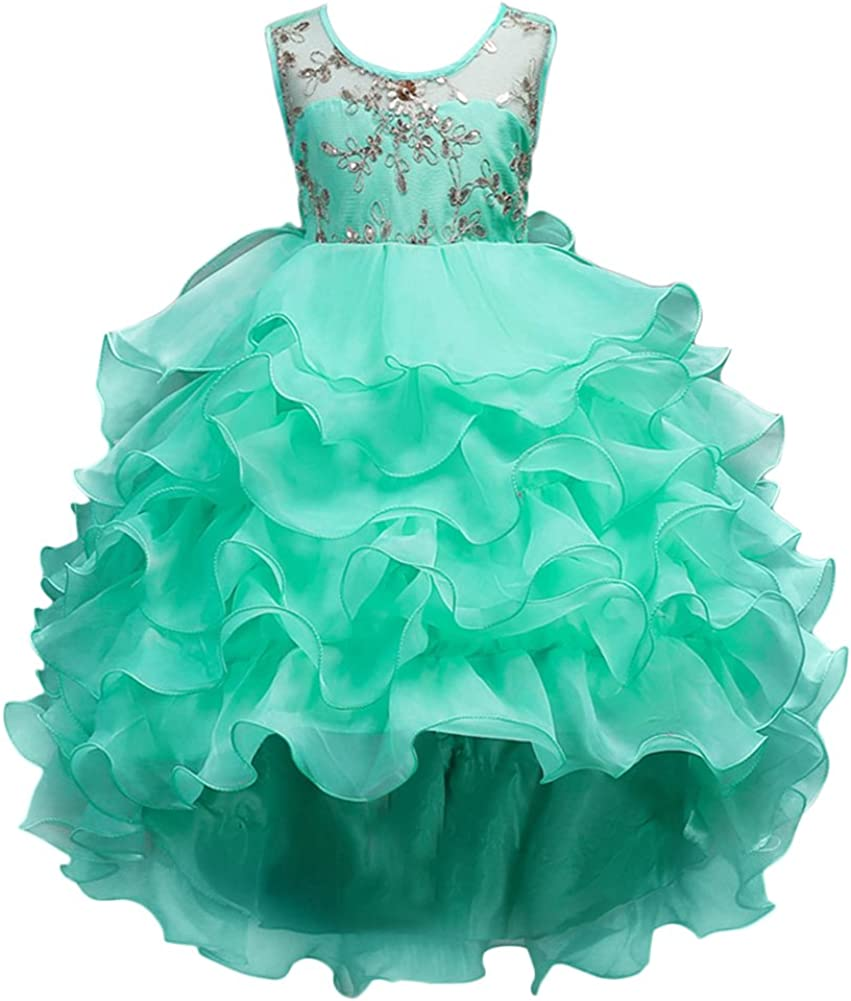 Girls Vintage Ruffle Lace Tulle Flower Girl Dresses Junior Bridesmaid Bow Princess Gown Party Wedding Trailing Dress