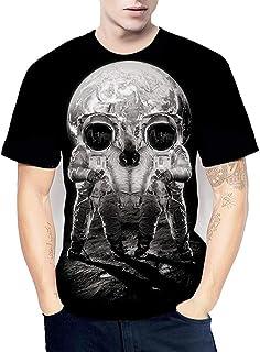 3D Digital Printed Skull T-Shirt,Men's Summer Couples Wear Round Neck Pullover Tee Short-Sleeve Tops,5XL