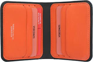 Visconti Slim Collection Lank Leather Wallet with RFID and Tap and Go VSL34 Black/Orange