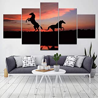 NYJNN 5 Canvas Paintings Two Running Horse With Sunset 5 Piece Hd Wallpapers Art Canvas Print Poster Art Painting Decor Pr...