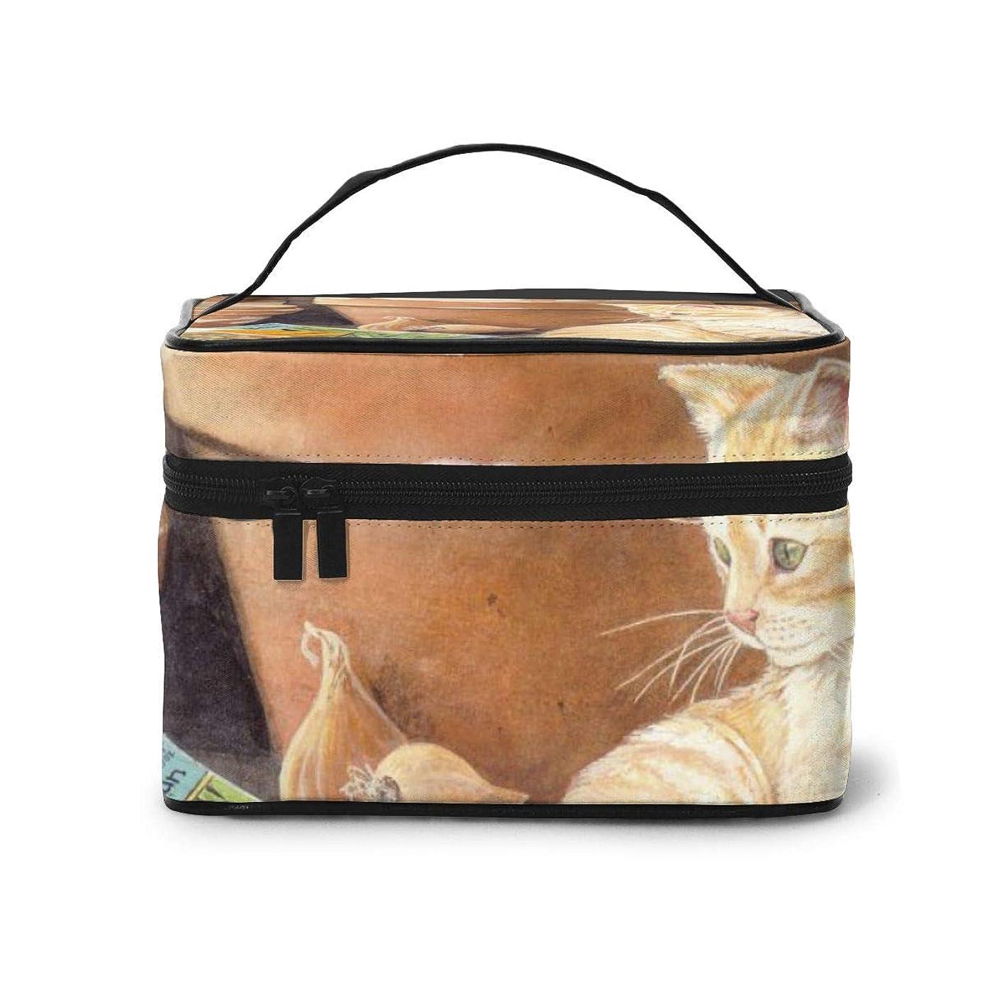 遮るスポンサー慰めメイクポーチ 化粧ポーチ コスメバッグ バニティケース トラベルポーチ 田園猫 写真 鉢 野菜 雑貨 小物入れ 出張用 超軽量 機能的 大容量 収納ボックス