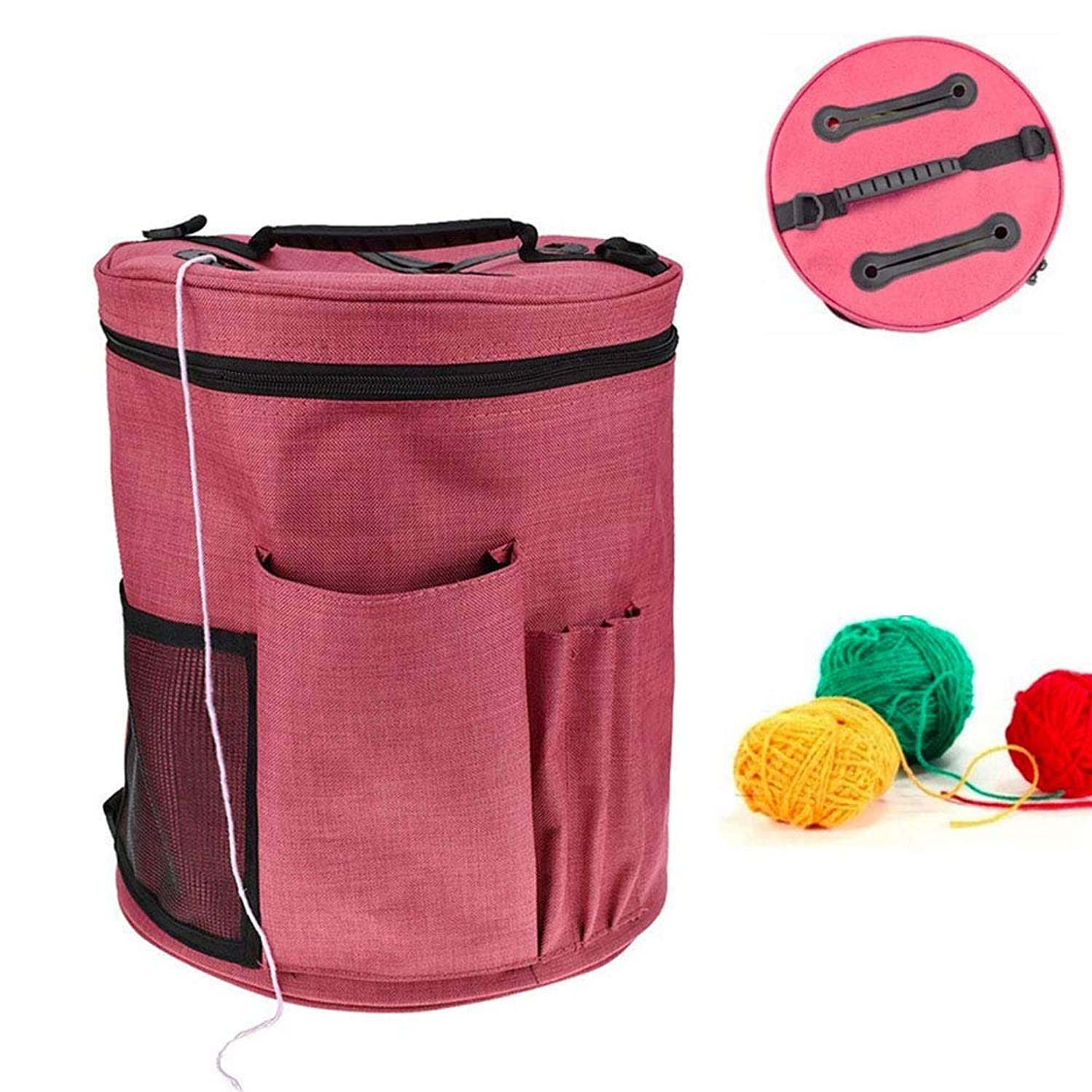 Yarn Storage Organizer Bag, with Compartments Knitting Yarn Ball Holder Pockets for Accessories and Slits to Protect Yarn and Prevent Tangling, Best Gift for Mother's Day (Large)