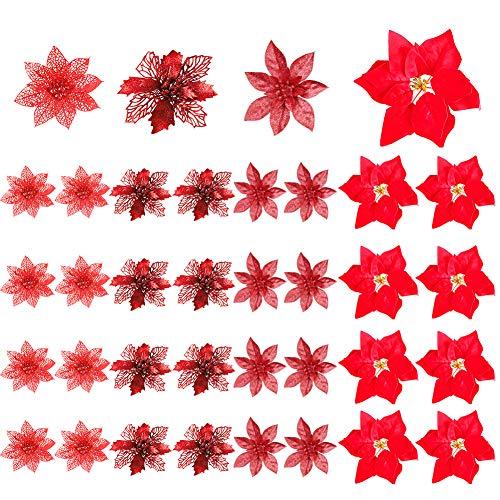 Fiori di Natale Poinsettia, 36 pezzi Chirstmas rossi Fiori glitter Fiori artificiali Albero di natale Ornamenti Decorazioni 4 stili natalizie per gli ornamenti dell'albero di Natale di Capodanno