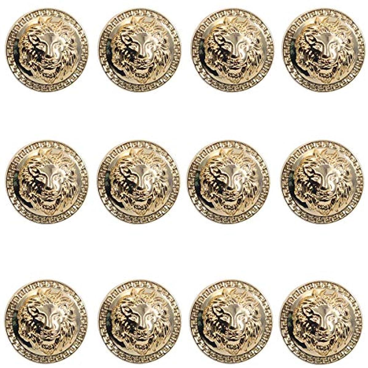 12 Pieces Vintage Antique Metal Blazer Button Set - 3D Lion Head - for Blazer, Suits, Sport Coat, Uniform, Jacket (Gold 23mm)