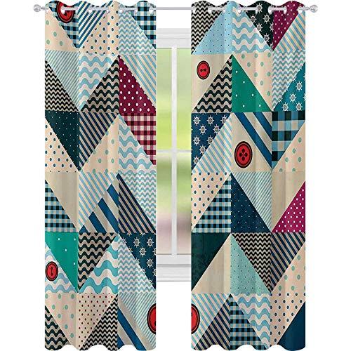 Cortinas de ventana que reducen el ruido, remiendo con línea estilizada vintage y botones retro Kitsch Artsy, cortina de oscurecimiento de habitación de 52 x 108 para sala de estar, multicolor