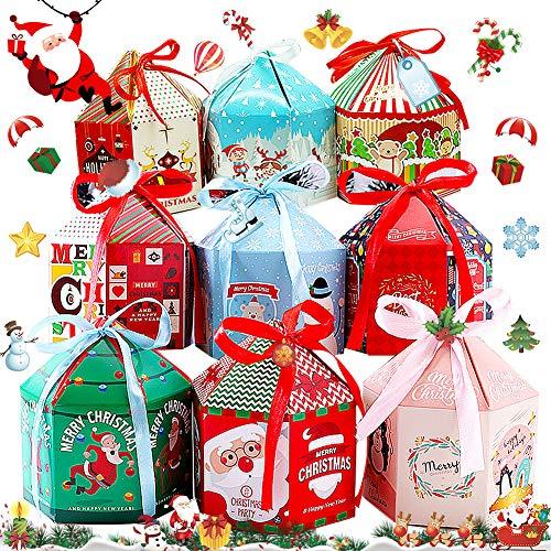 BESTZY Scatole Regalo Natale 16 PCS Confezioni Regalo Dolcetti Biscotti Dolci Caramelle Scatole Regalo per Natale Compleanni Vacanze Lauree(Stile Casuale)