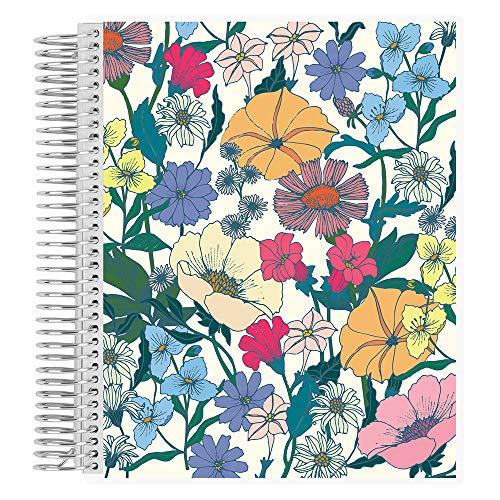 Erin Condren Flower Power Notizbuch, liniert, Spiralbindung, 160 perforierte Seiten, 17,8 x 22,9 cm, für Notizen und Listen mit austauschbarem Einband, inklusive funktionaler Aufkleber, dickes Papier