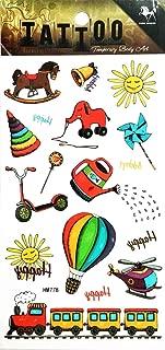 PP TATTOO 1 Sheet Vintage Amusement Park Train Balloon Carousel Cartoon Waterproof Tattoos Stickers Pattern Style Henna Make up Neck Shoulder Upper arm Thigh Body Art Tattoo for Women Men Sexy Fake