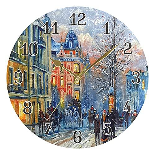 KKAYHA London City - Reloj de pared con pintura al óleo (25 cm, funciona con pilas, silencioso), diseño de ciudad de Londres