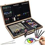 Artina Set de Pintura 89 Piezas Génova Maletín Madera Ceras, lápices de Colores, Acuarelas Regalo Ideal