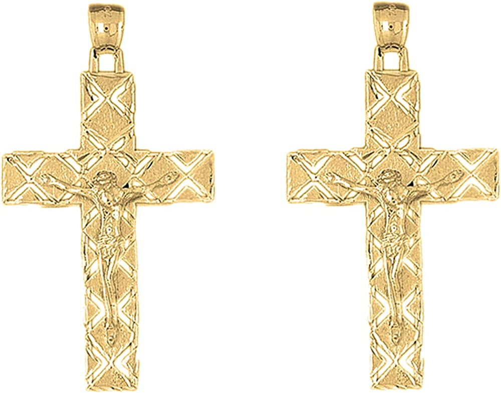 Jewels Obsession Latin Crucifix Gold 14K Earrings Yellow OFFicial Award-winning store