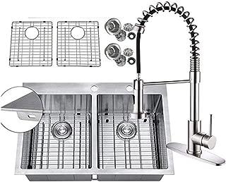 33 x 22 Inch 16 Gauge Topmount 50/50 Double Bowls Stainless Steel Kitchen Sinks Drop in 9-Ga Extra Thick Deck w/Bottom Grid Sink Strainer Pull Down Kitchen Faucet 0915PPZYXXX