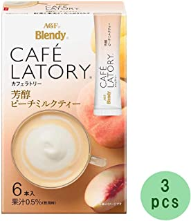 Cafe Latory Rich Peach Milk Tea 6Sticks (2.3oz)× 3pcs Japanese Instant Tea AGF Ninjapo