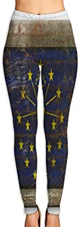 Indiana State Flag Corrugated Metal Yoga Pants Washable Legging Tights Quick Dry Sportswear for Women Girl Workout
