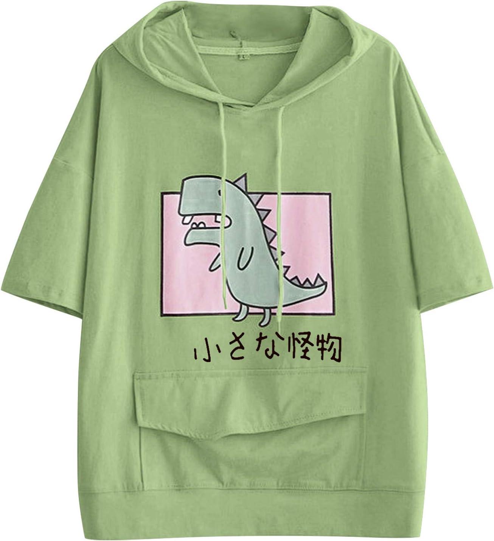YAnGSale Women Bargain sale Hooded outlet Tops Cute D Pocket T-Shirts Dinosaur Print