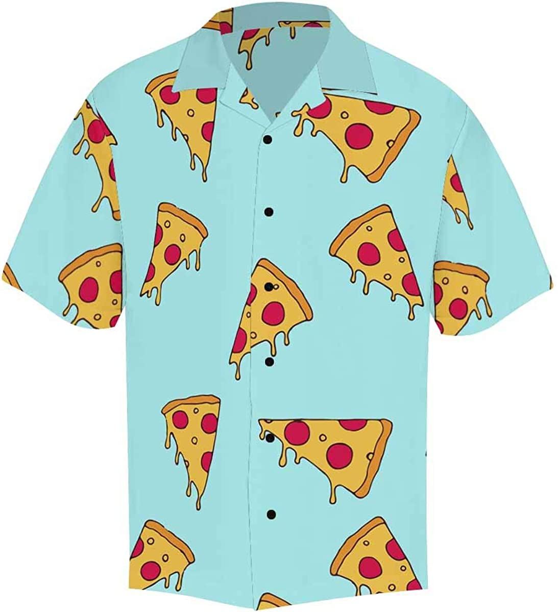 InterestPrint Men's Casual Button Down Short Sleeve Gray Blue Elephant Hawaiian Shirt (S-5XL)