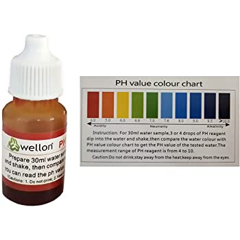 Wellon pH Test Liquid Drops for Water pH Testing with pH Colour Chart- 1 pcs