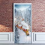 ANPHSIN Self-Adhesive Christmas 3D Door Decal Sticker- 30 x 80 Inches Snowy Scene and Train Door Wallpaper Removable Vinyl Stickers for Indoor Outdoor Christmas Party Holiday Door Decoration