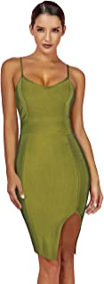 Maketina Women's Spaghetti Strap Deep V Neck Side Split Bodycon Party Bandage Dress