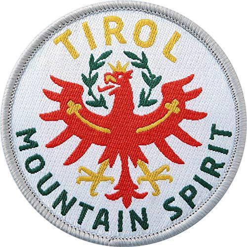 Club of Heroes 2 x Tirol Abzeichen gewebt 60 mm/Tirol Mountain Spirit Österreich/Tiroler Berge Alpen Adler Bergsteigen Wandern Reise/Aufnäher Aufbügler Flicken Sticker Patch/Reiseführer Wanderführer
