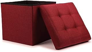 WoneNice Folding Storage Ottoman Cube Foot Rest Stool Seat- 15