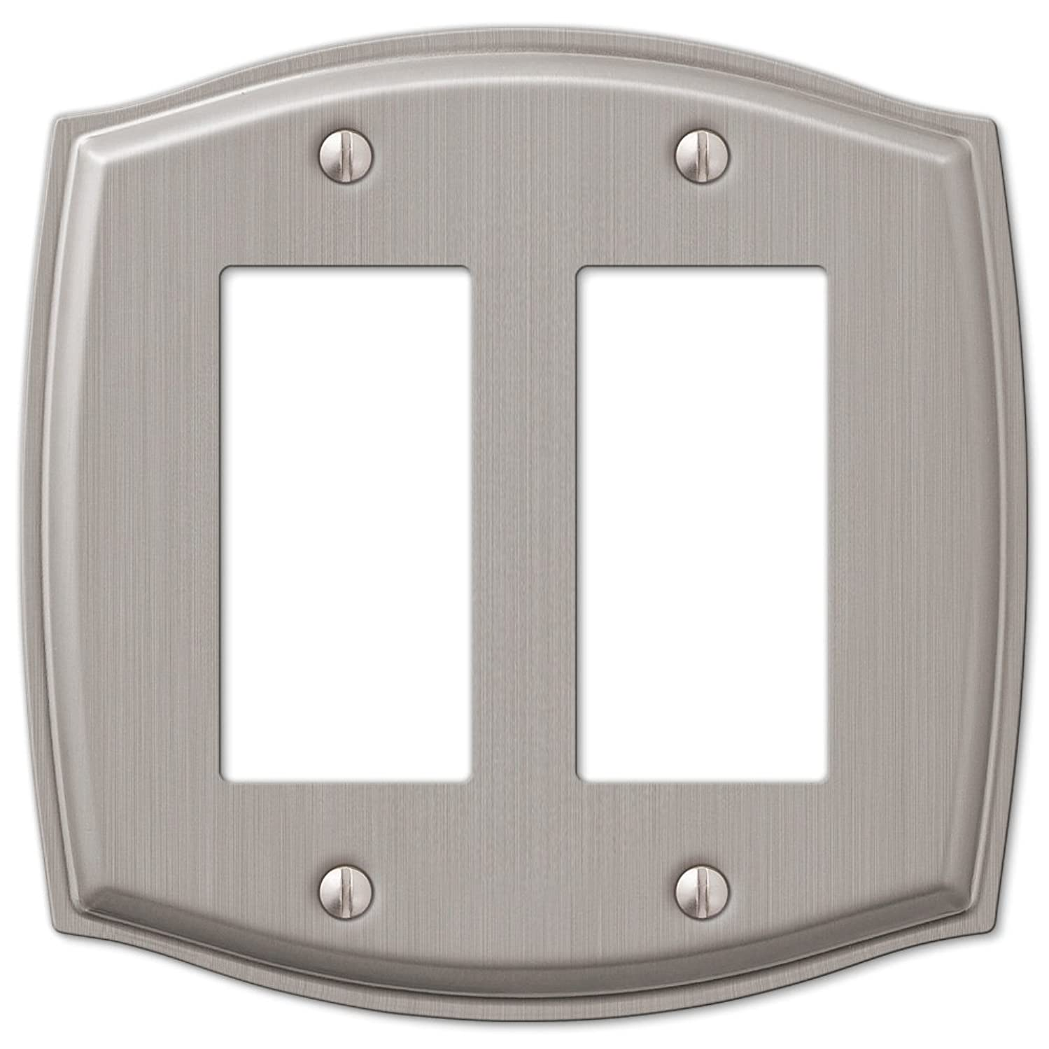 2 Rocker GFCI Wall Plate Cover - Brushed Nickel