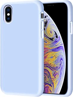 iPhone XS/iPhone X Liquid Silicone Case Ultra Thin Cover Protective Soft Silicone Skin Touch with Inside Suede Cushion Cov...