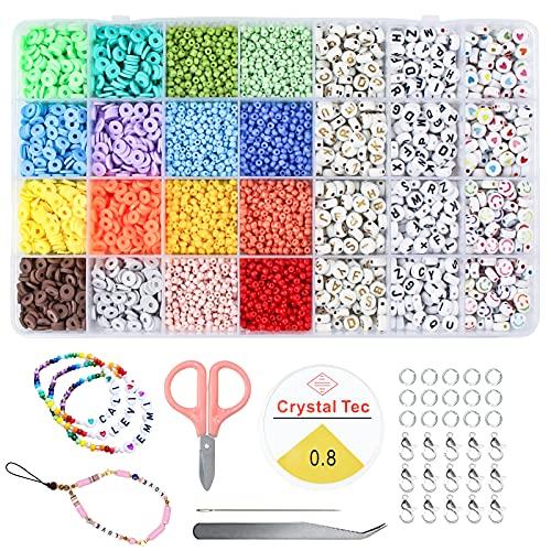 INSANYJ Cuentas de Cristal, Bolitas Abalorios para Hacer Pulseras, Cuentas de Colores para Pulseras, DIY Caja Abalorios para Hacer Collares para Pulseras Fabricación de Joyas Bricolaje