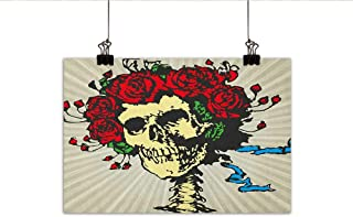 Rose Wall Art Decor Poster Painting Tattoo Art Style Graphic Skull in Red Flowers Crown Halloween Composition Print Decorations Home Decor 31